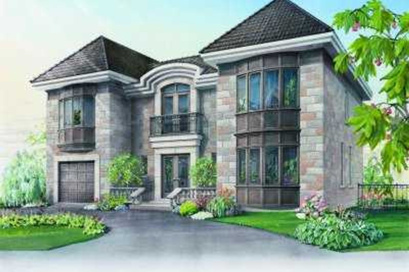 European Style House Plan - 3 Beds 2.5 Baths 3002 Sq/Ft Plan #23-368 Exterior - Front Elevation