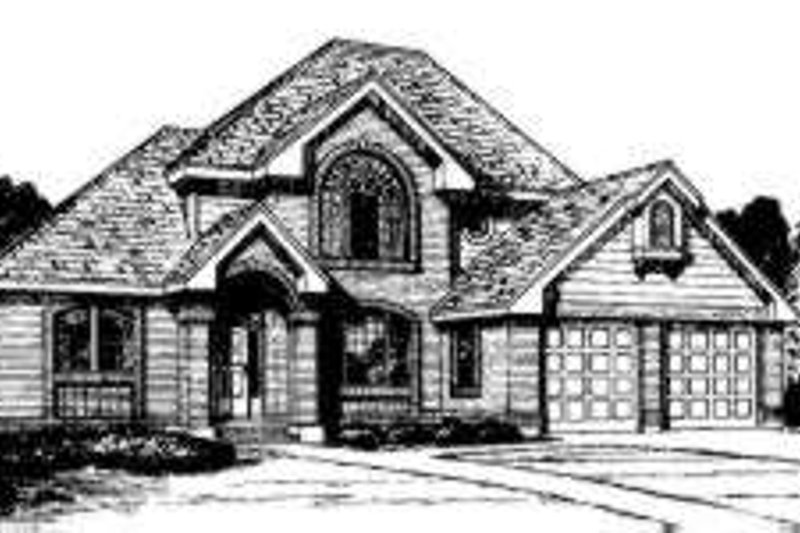 European Style House Plan - 4 Beds 3.5 Baths 2212 Sq/Ft Plan #300-102 Exterior - Front Elevation