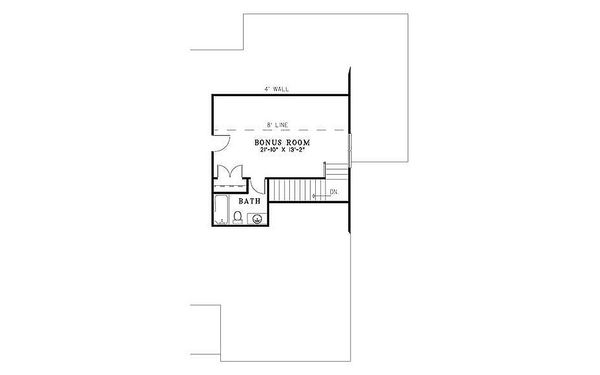 Southern, country style house plan, upper level floor plan