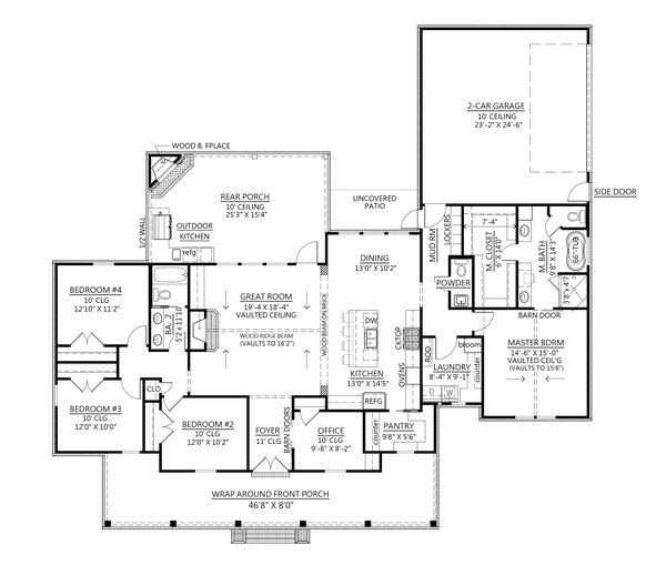 Dream House Plan - Farmhouse Floor Plan - Main Floor Plan #1074-31