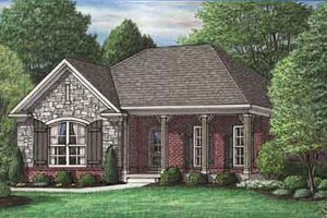 Southern Exterior - Front Elevation Plan #34-199