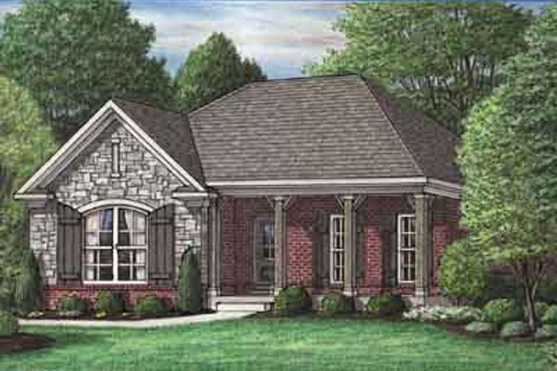 Southern Style House Plan - 3 Beds 2 Baths 1468 Sq/Ft Plan #34-199 Exterior - Front Elevation