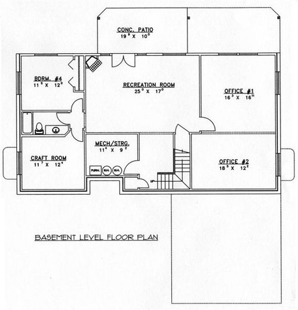 Floor Plan - Lower Floor Plan Plan #117-532