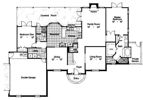 Colonial Floor Plan - Main Floor Plan Plan #417-328