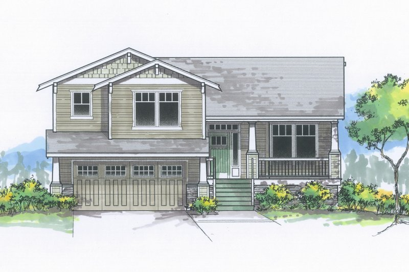 Craftsman Exterior - Front Elevation Plan #53-613