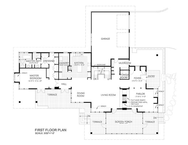Prairie Style House Plan - 3 Beds 2.5 Baths 2979 Sq/Ft Plan #454-7 Floor Plan - Main Floor Plan