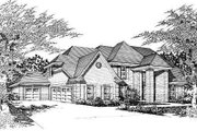 European Style House Plan - 5 Beds 4 Baths 3646 Sq/Ft Plan #329-303 Exterior - Front Elevation