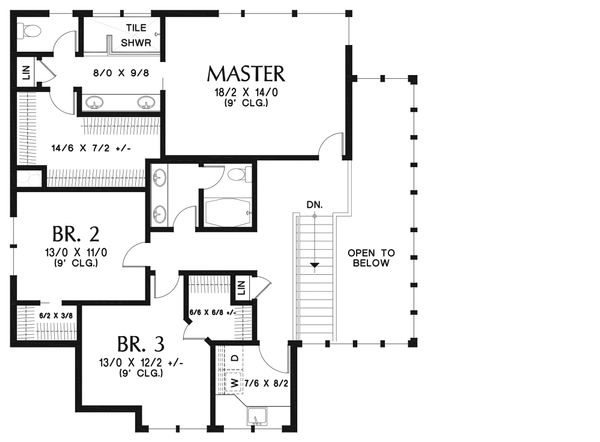Modern Floor Plan - Upper Floor Plan Plan #48-938