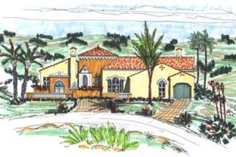 Mediterranean Style House Plan - 3 Beds 3.5 Baths 2892 Sq/Ft Plan #76-115