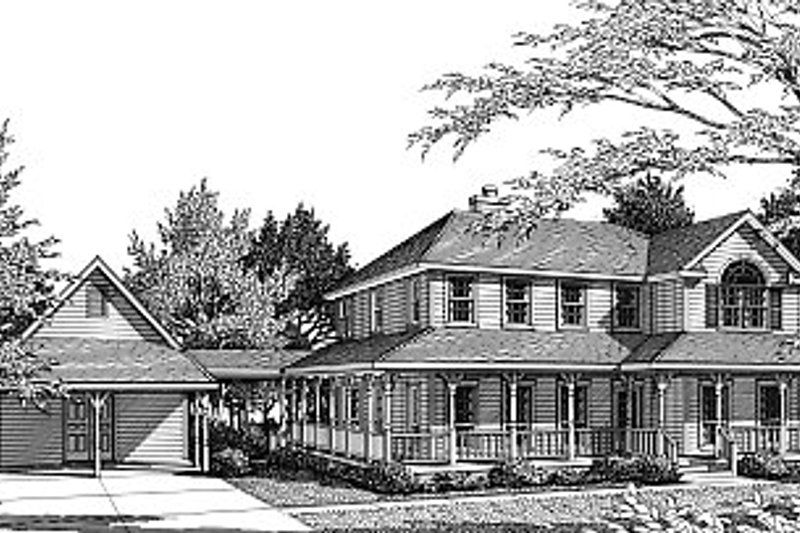 Country Exterior - Front Elevation Plan #14-209