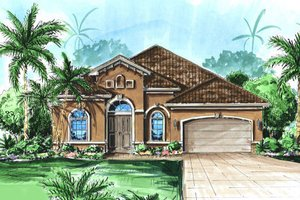 Mediterranean Exterior - Front Elevation Plan #27-402