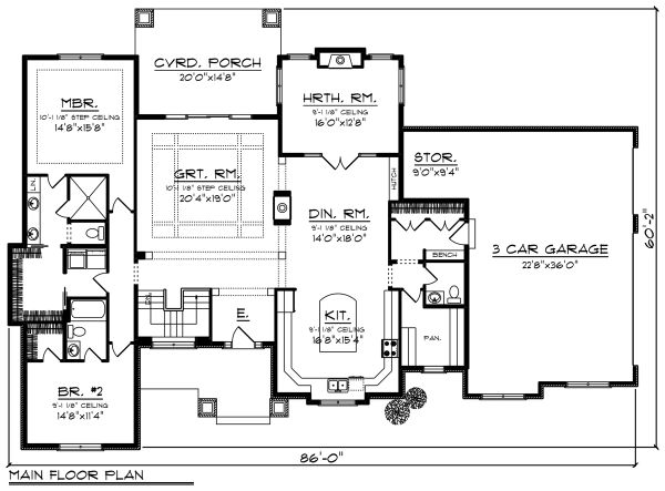 Ranch Floor Plan - Main Floor Plan Plan #70-1277