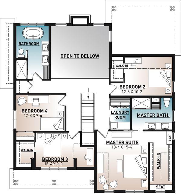Farmhouse Floor Plan - Upper Floor Plan #23-2725