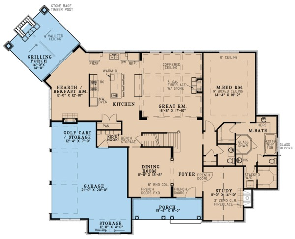 House Plan Design - European Floor Plan - Main Floor Plan #923-79