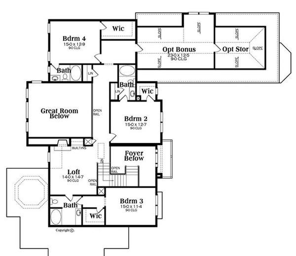 Traditional Floor Plan - Upper Floor Plan Plan #419-296