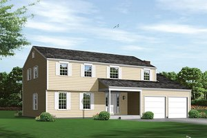 Colonial Exterior - Front Elevation Plan #57-556