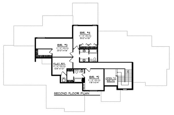 Craftsman Floor Plan - Upper Floor Plan Plan #70-1471