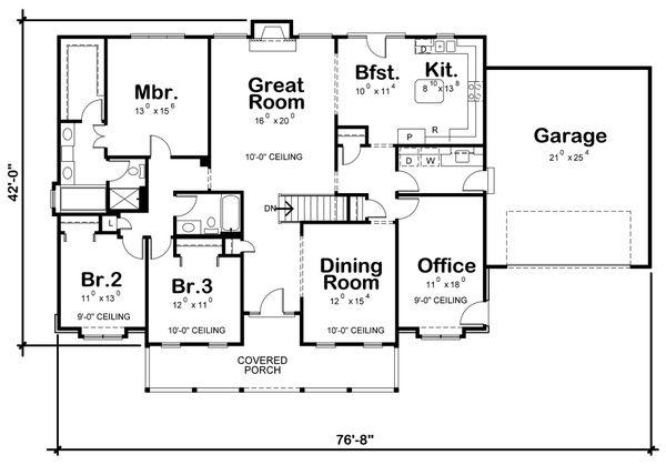 House Plan Design - Traditional Floor Plan - Main Floor Plan #20-738