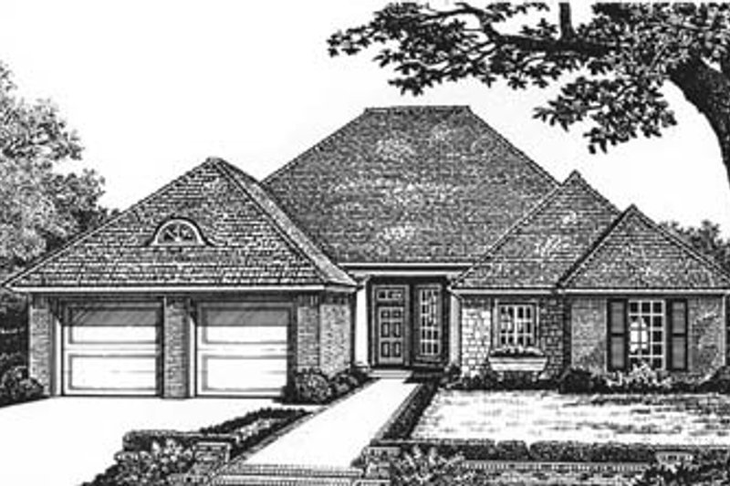 European Style House Plan - 4 Beds 2 Baths 1863 Sq/Ft Plan #310-583 Exterior - Front Elevation