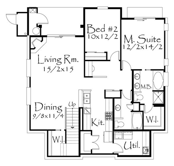 Tudor Style House Plan - 2 Beds 2 Baths 5051 Sq/Ft Plan #509-19 Floor Plan - Lower Floor Plan