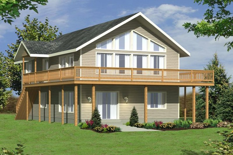 Modern Style House Plan - 3 Beds 2 Baths 1827 Sq/Ft Plan #117-209 Exterior - Front Elevation