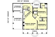 Country Style House Plan - 2 Beds 2 Baths 1152 Sq/Ft Plan #44-159 Floor Plan - Main Floor