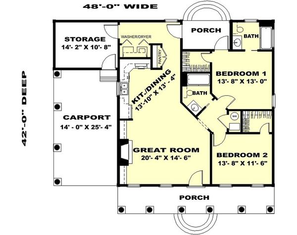Country Floor Plan - Main Floor Plan Plan #44-159