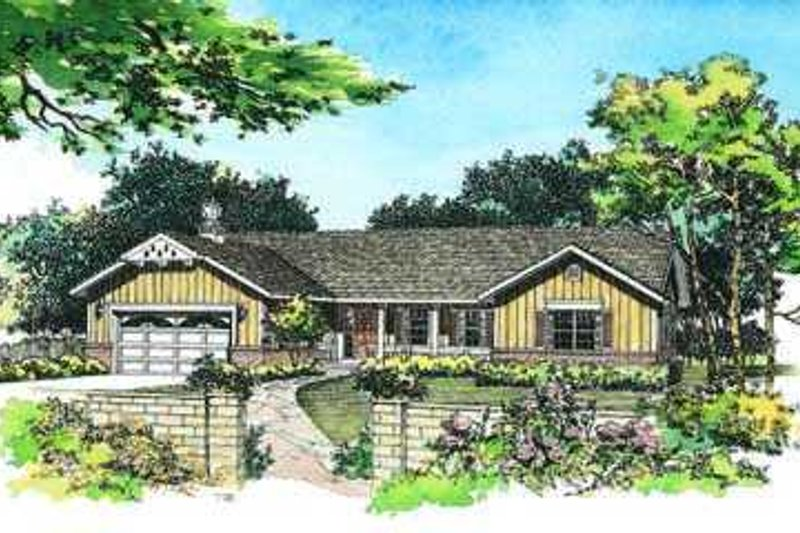 Ranch Style House Plan - 3 Beds 2 Baths 2076 Sq/Ft Plan #72-129 Exterior - Front Elevation