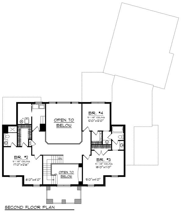 Colonial Floor Plan - Upper Floor Plan Plan #70-1144