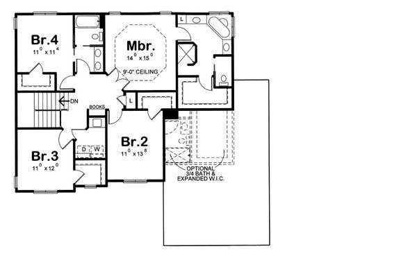 Traditional Floor Plan - Upper Floor Plan Plan #20-2090