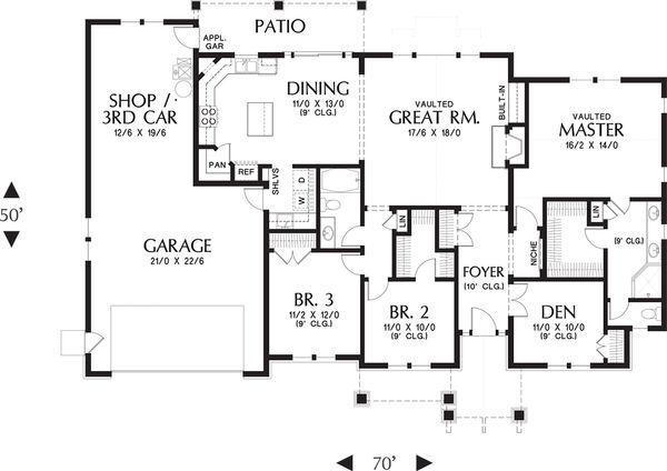 Architectural House Design - Craftsman Floor Plan - Main Floor Plan #48-659