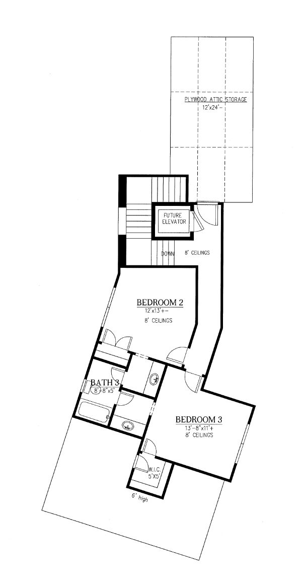 Craftsman Floor Plan - Upper Floor Plan Plan #437-102