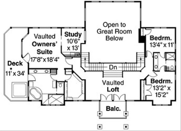 Craftsman Floor Plan - Upper Floor Plan Plan #124-516