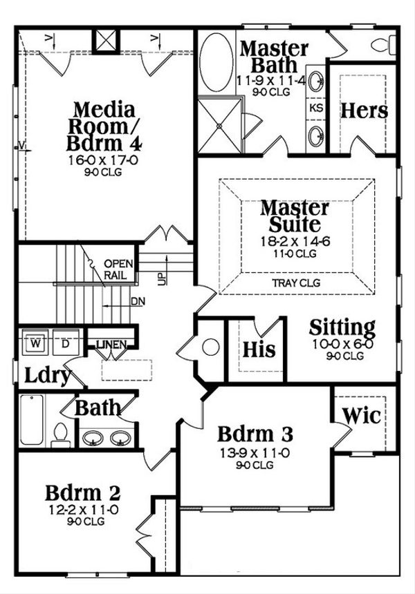 Craftsman Floor Plan - Upper Floor Plan Plan #419-264