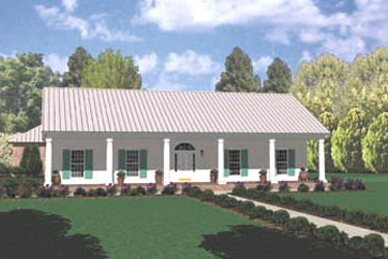 Ranch Style House Plan - 3 Beds 2 Baths 2019 Sq/Ft Plan #36-188 Exterior - Front Elevation