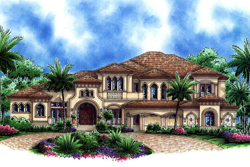 Mediterranean Style House Plan - 5 Beds 7 Baths 10993 Sq/Ft Plan #27-478 Exterior - Front Elevation