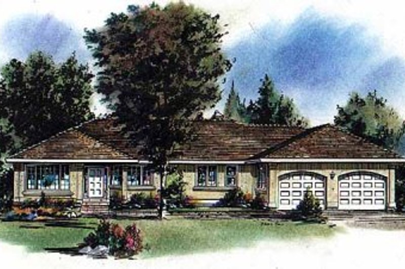 Ranch Style House Plan - 3 Beds 2 Baths 2023 Sq/Ft Plan #18-115 Exterior - Front Elevation