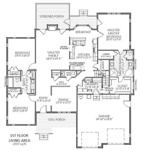 Main level floor plan - 3600 square foot Traditional home