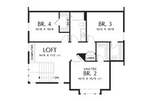 Upper Level floor plan - 2100 square foot Craftsman home