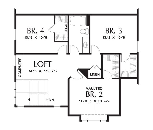 Upper Level floor plan - 2100 square foot Craftsman home