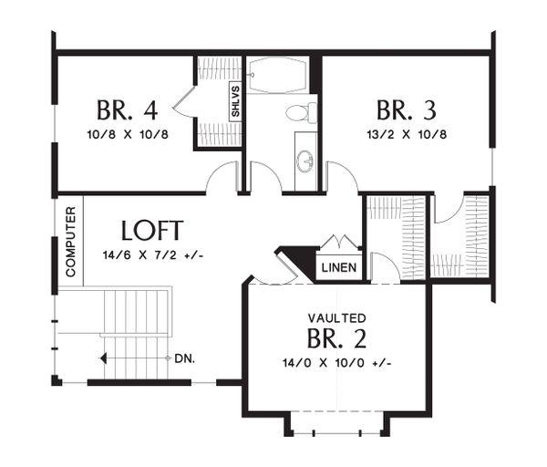 House Plan Design - Upper Level floor plan - 2100 square foot Craftsman home