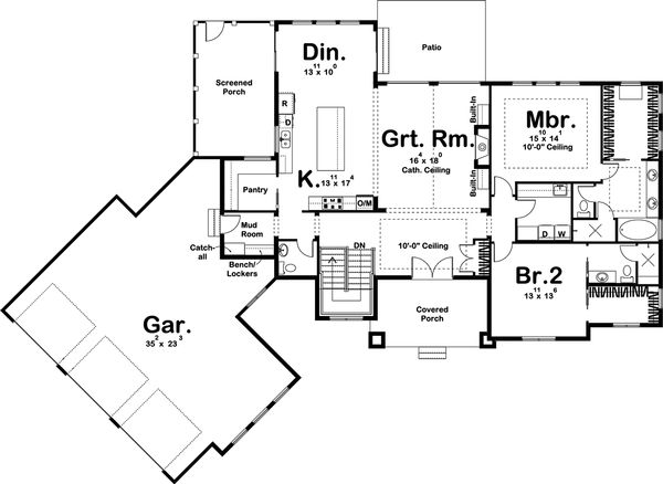 Craftsman Floor Plan - Main Floor Plan Plan #455-212