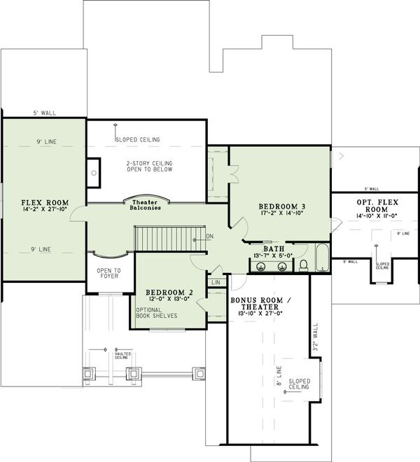 Craftsman Floor Plan - Upper Floor Plan Plan #17-2516