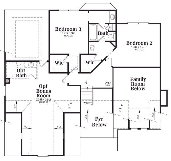 Craftsman Floor Plan - Upper Floor Plan Plan #419-158