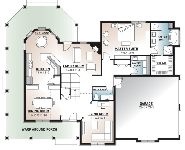 Traditional Floor Plan - Main Floor Plan Plan #23-603