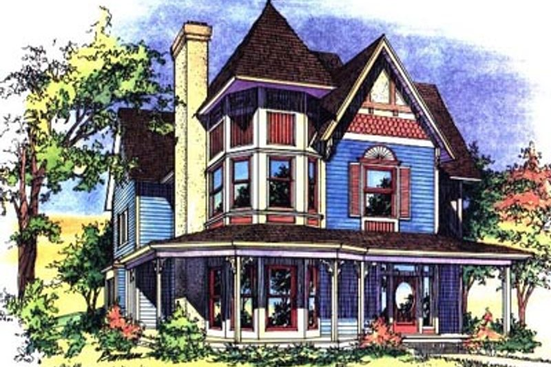 Victorian Style House Plan - 3 Beds 2.5 Baths 2400 Sq/Ft Plan #43-105 Exterior - Front Elevation
