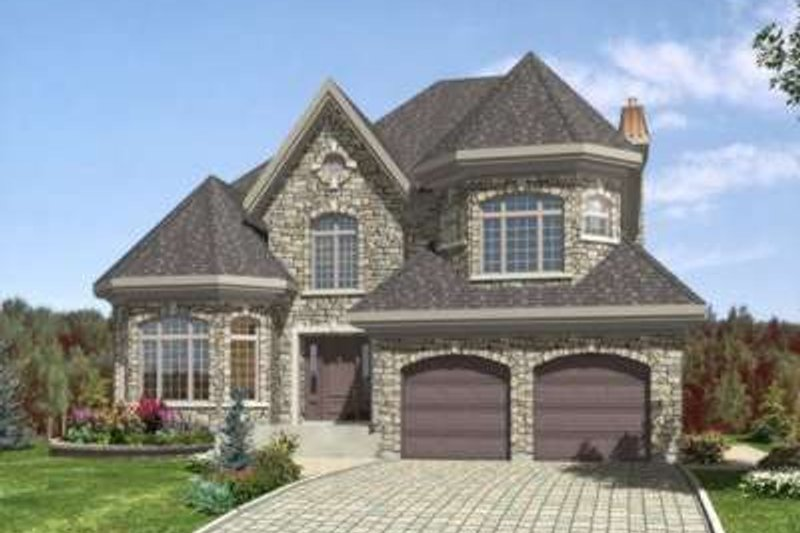 European Style House Plan - 4 Beds 2.5 Baths 2699 Sq/Ft Plan #138-110 Exterior - Front Elevation