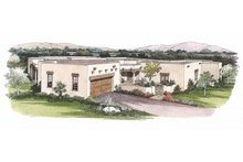 Adobe / Southwestern Exterior - Front Elevation Plan #72-338