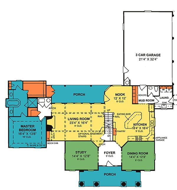 Southern colonial style house plan, main level floor plan