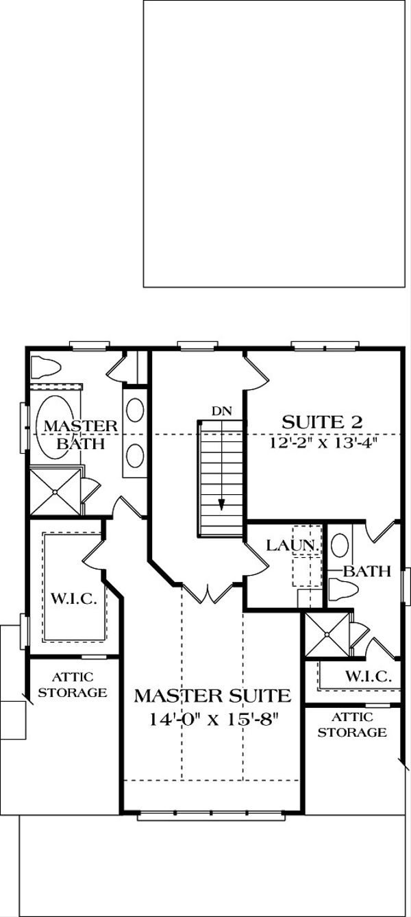 Craftsman Floor Plan - Upper Floor Plan Plan #453-3